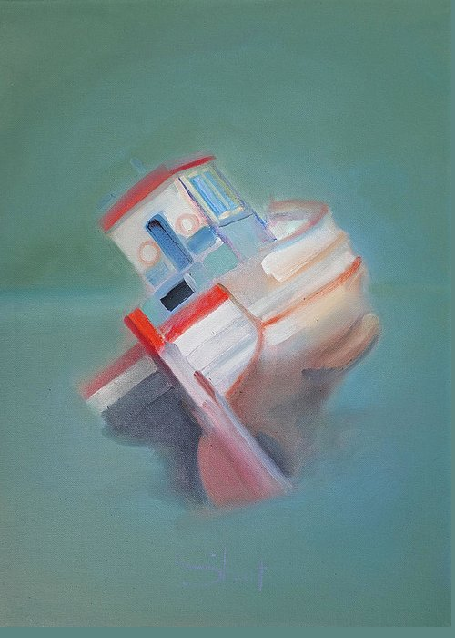 Fishing Boat Greeting Card featuring the painting Boat Retired Tavira by Charles Stuart