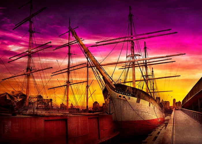 Self Greeting Card featuring the photograph Boat - Sailing - Fleet Week by Mike Savad