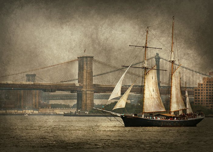 Self Greeting Card featuring the photograph Boat - Sailing - Govenors Island Ny - Clipper City by Mike Savad