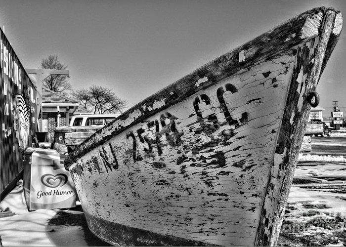 Paul Ward Greeting Card featuring the photograph Boat - State Of Decay In Black And White by Paul Ward