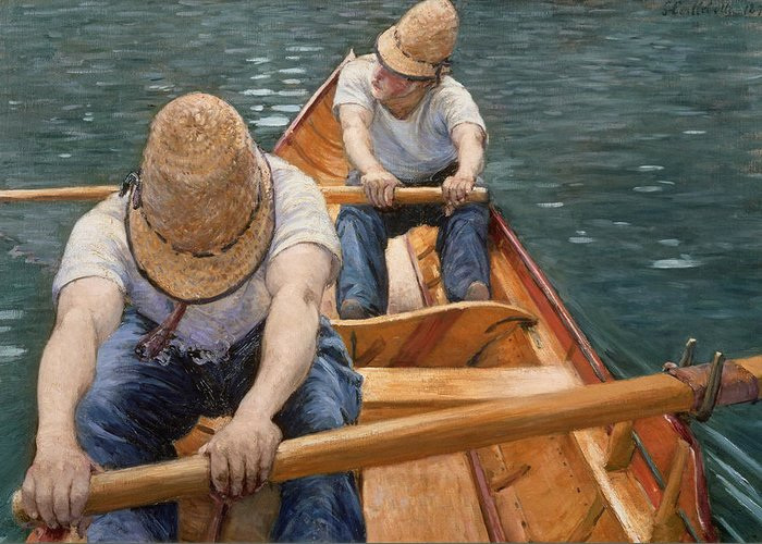 Two Men Rowing Greeting Cards