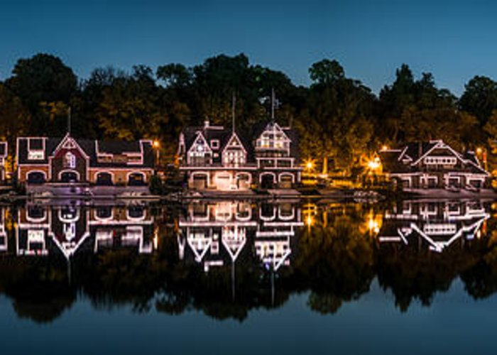 Pa Greeting Card featuring the photograph Boathouse Row Panorama by Mihai Andritoiu
