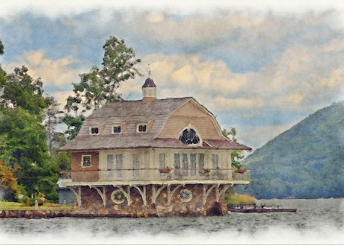 Boathouse Greeting Card featuring the photograph Boathouse by Susan Leggett