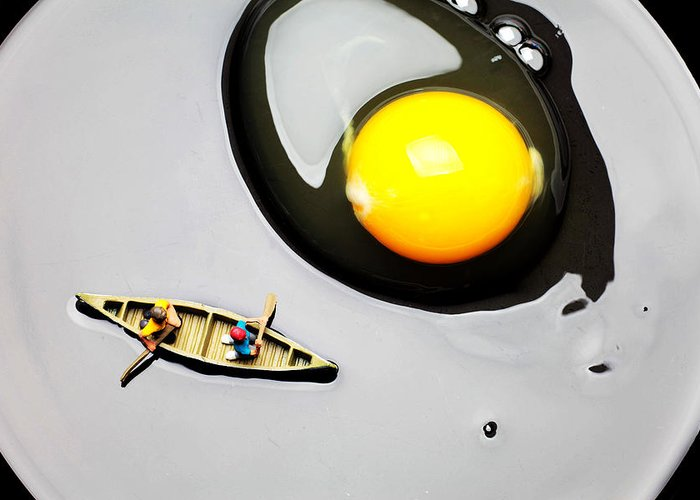 Boating Greeting Card featuring the photograph Boating Around Egg Little People On Food by Paul Ge