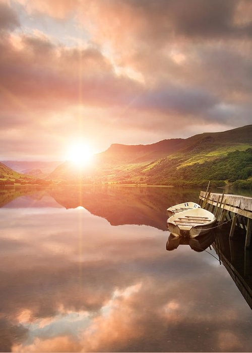 Landscape Greeting Card featuring the photograph Boating Lake Sunrise by Matthew Gibson