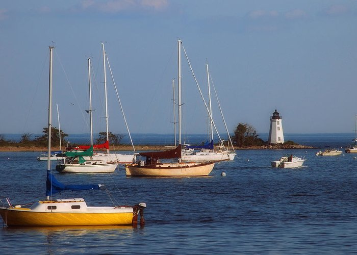 Captains Cove Greeting Card featuring the photograph Boating On Long Island Sound by Joann Vitali