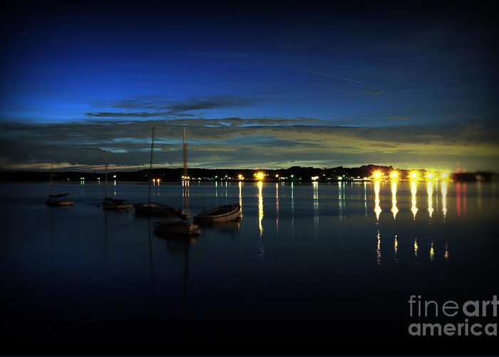 Boat Greeting Card featuring the photograph Boating - The Marina At Night by Paul Ward