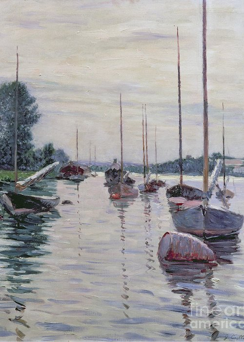 River Greeting Card featuring the painting Boats Anchored On The Seine by Gustave Caillebotte