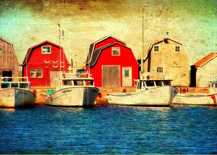 Boats Greeting Card featuring the photograph Boats And Boat Houses Pei Photograph by Laura Carter
