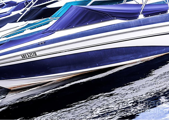 Boat Greeting Card featuring the photograph Boats And Reflections by Elena Elisseeva