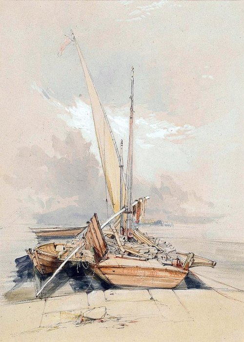 Boats Greeting Card featuring the painting Boats At Quayside Lake Geneva by James Holland