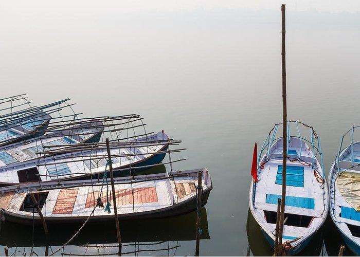 Allahabad Greeting Card featuring the photograph Boats At Sangam by Gaurav Singh