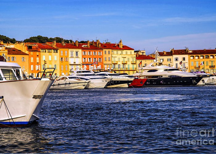 Yacht Greeting Card featuring the photograph Boats At St.tropez Harbor by Elena Elisseeva