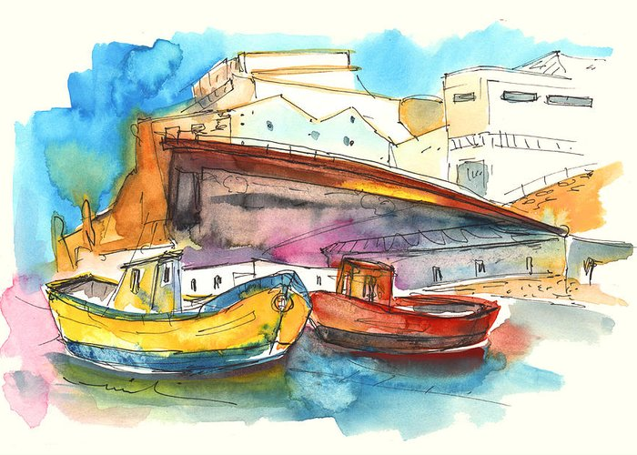 Portugal Art Greeting Card featuring the painting Boats In Ericeira In Portugal by Miki De Goodaboom
