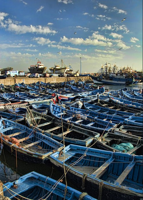 Dusk Greeting Card featuring the photograph Boats In Essaouira Morocco Harbor by David Smith