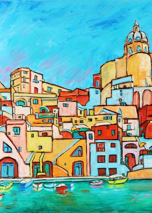 Campania Greeting Card featuring the painting Boats In Front Of The Buildings Vii by Xueling Zou