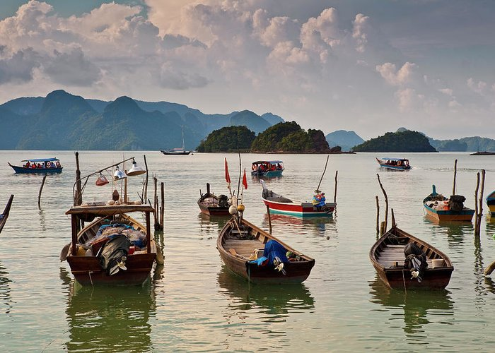 Southeast Asia Greeting Card featuring the photograph Boats Moored In Sea, Teluk Baru by Richard I'anson