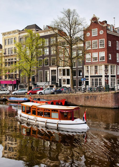 Amsterdam Greeting Card featuring the photograph Boats On Canal In Amsterdam by Artur Bogacki