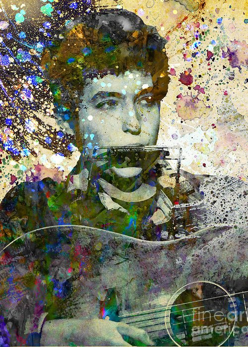 60s Greeting Card featuring the painting Bob Dylan Original Painting Print by Ryan Rock Artist