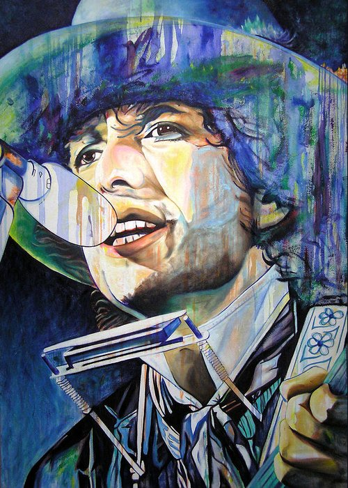 Bob Dylan Greeting Card featuring the painting Bob Dylan Tangled Up In Blue by Joshua Morton