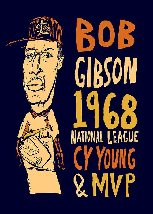 Bob Gibson Greeting Card featuring the mixed media Bob Gibson St Louis Cardinals by Jay Perkins