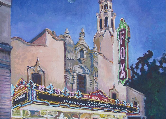 Vanessa Hadady Bfa Ma Greeting Card featuring the painting Bob Hope Theatre by Vanessa Hadady BFA MA