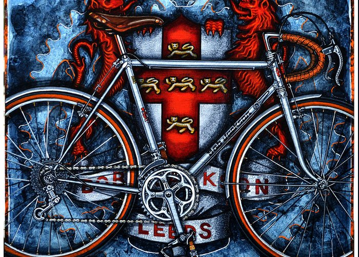 Bicycle Greeting Card featuring the painting Bob Jackson by Mark Howard Jones