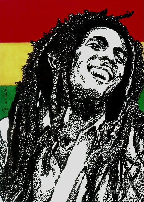 Bob Marley Greeting Card featuring the drawing Bob Marley-laughing by Cory Still