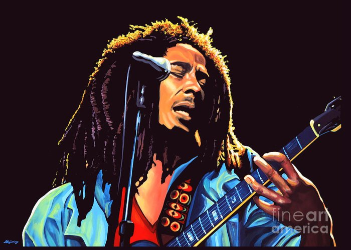 Bob Marley Greeting Card featuring the painting Bob Marley by Paul Meijering