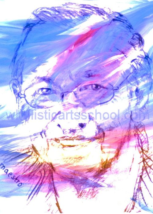 Memory Care Greeting Card featuring the painting BOB by PainterArtist FIN