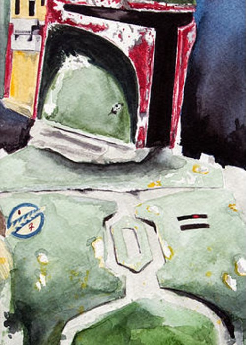 Star Wars Greeting Card featuring the painting Boba Fett by David Kraig