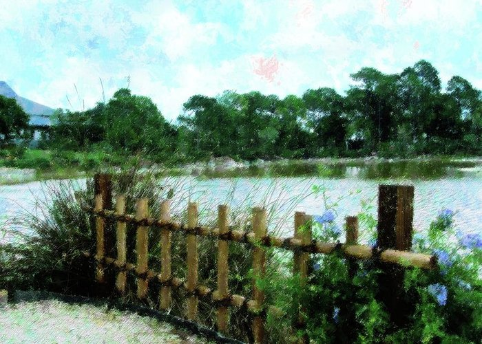Bamboo Fence Mixed Media Greeting Cards