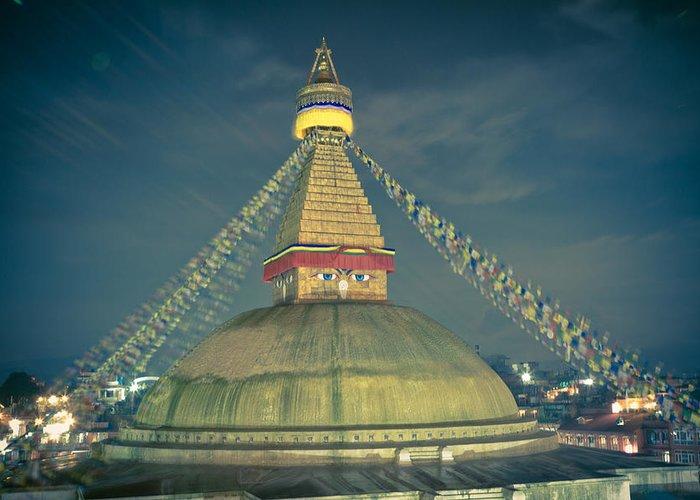 Wisdom Greeting Card featuring the photograph Bodhnath Stupa At Night In Kathmandu by Raimond Klavins