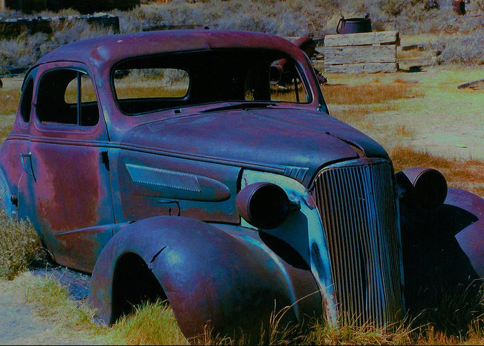 Barbara Snyder Greeting Card featuring the digital art Bodie Plymouth by Barbara Snyder