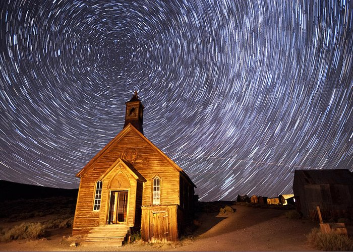 Night Greeting Card featuring the photograph Bodie Star Trails by Cat Connor