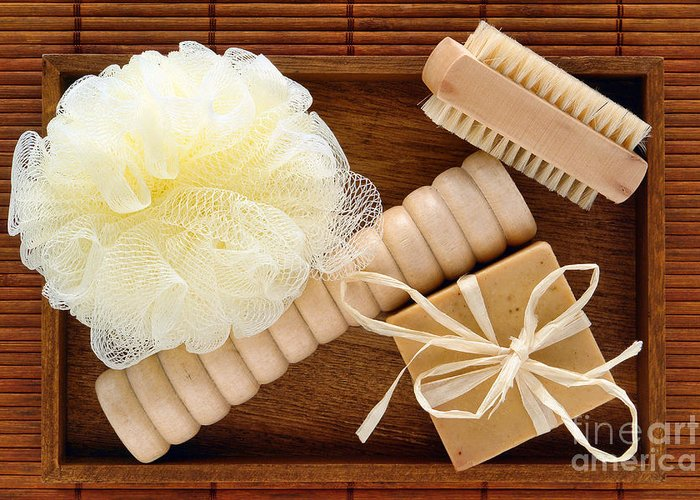 Spa Greeting Card featuring the photograph Body Care Accessories In Wood Tray by Olivier Le Queinec
