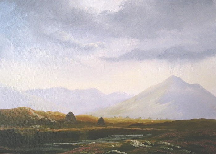 Irish Landscape Painting Oil Print West Of Ireland Irish Greeting Card featuring the painting Bogland Light by Cathal O malley