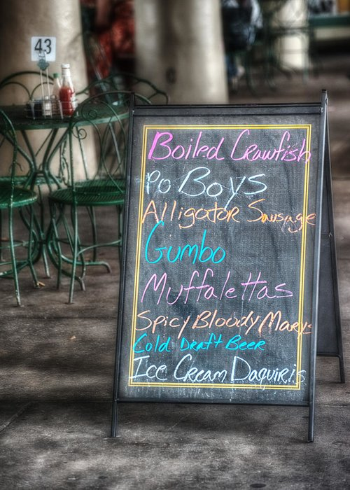 Menu Greeting Card featuring the photograph Boiled Crawfish Special by Brenda Bryant