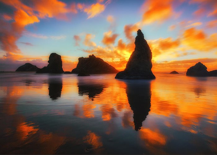 Sunset Greeting Card featuring the photograph Boldly Bandon by Darren White