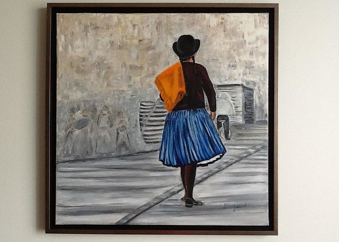 Bolivian Native Woman In Full Skirt On Her Way To The Market. Greeting Card featuring the painting Bolivian Chola In Blue Skirt by Marcella Haugaard