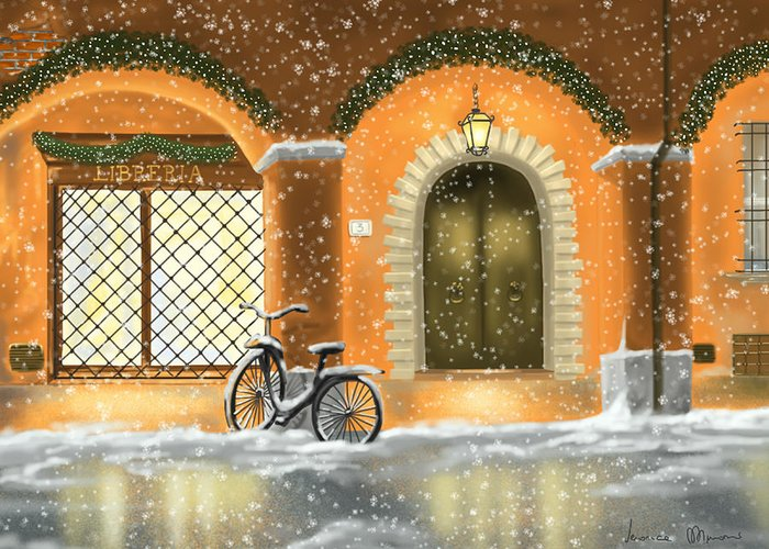 Red Greeting Card featuring the painting Bologna by Veronica Minozzi
