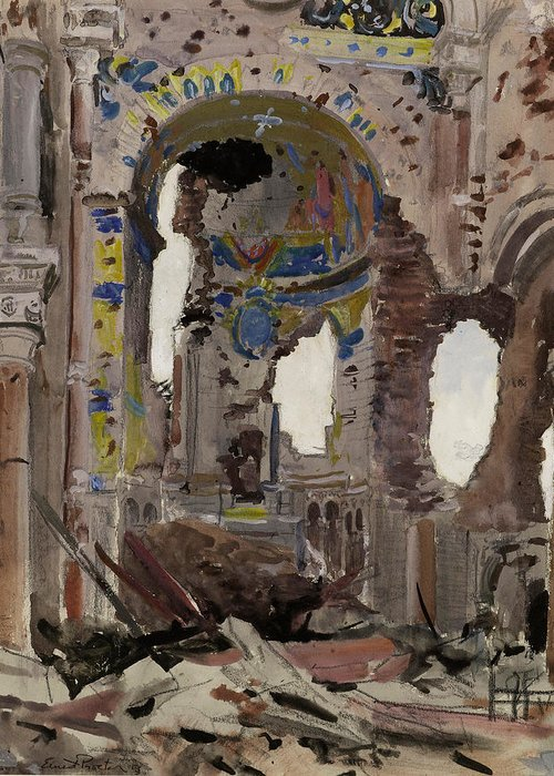 Albert Church Greeting Card featuring the painting Bombed Out Interior Of Albert Church by Ernest Proctor