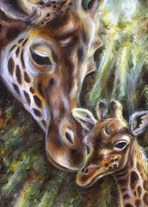 Animal Greeting Card featuring the painting Bond by Hiroko Sakai