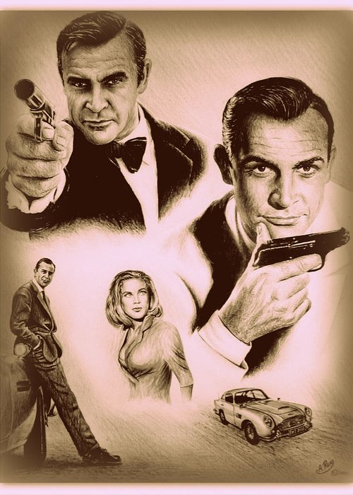 James Bond Greeting Card featuring the drawing Bond The Golden Years by Andrew Read