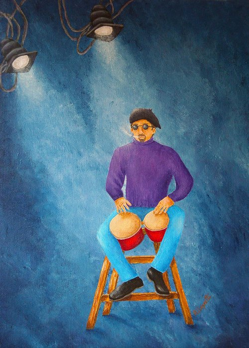 Pamela Allegretto-franz Greeting Card featuring the painting Bongo Man by Pamela Allegretto
