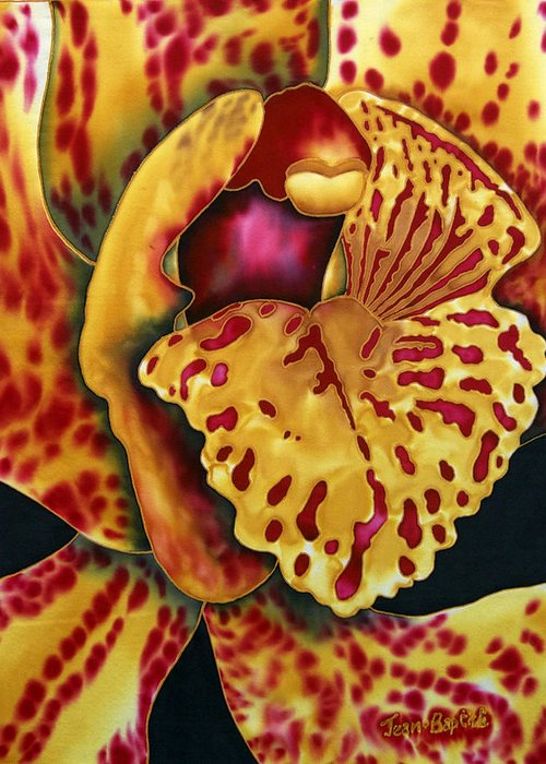 Orchid Flower Greeting Card featuring the tapestry - textile Bonnie Orchid II by Daniel Jean-Baptiste