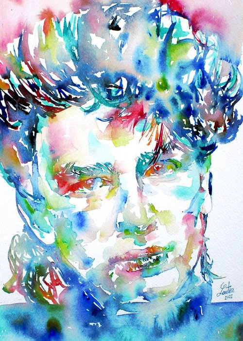 Bono Greeting Card featuring the painting Bono Watercolor Portrait.1 by Fabrizio Cassetta