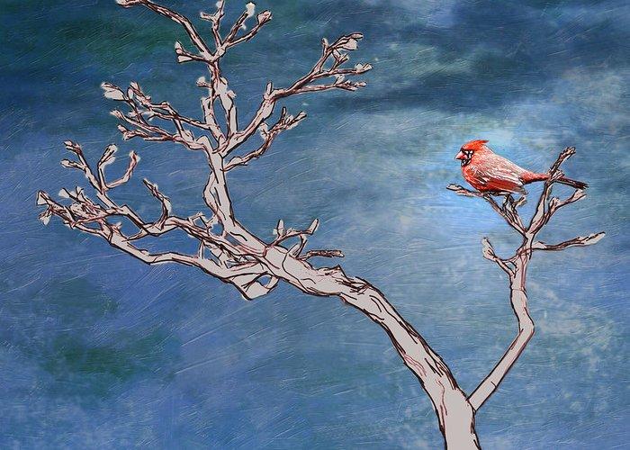 Cardinal Greeting Card featuring the digital art Bonsai Cardinal by John Haldane
