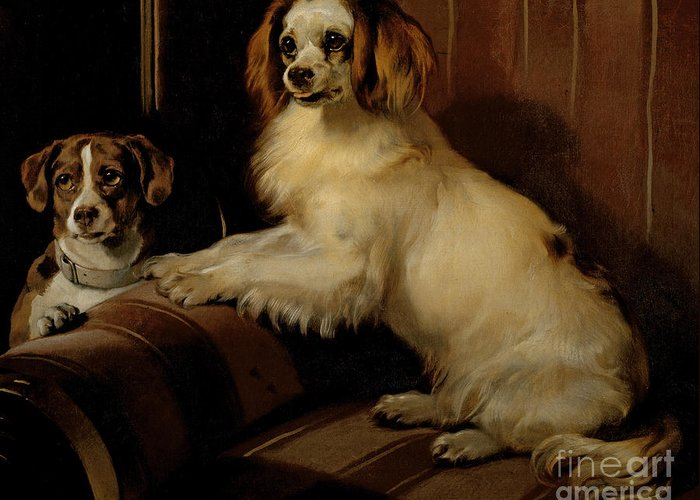 Dog Greeting Card featuring the painting Bony And Var by Sir Edwin Landseer