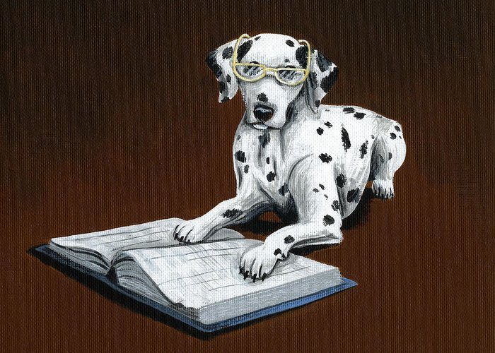 Dalmatian Greeting Card featuring the painting Book worm...Dog Art Painting by Amy Giacomelli